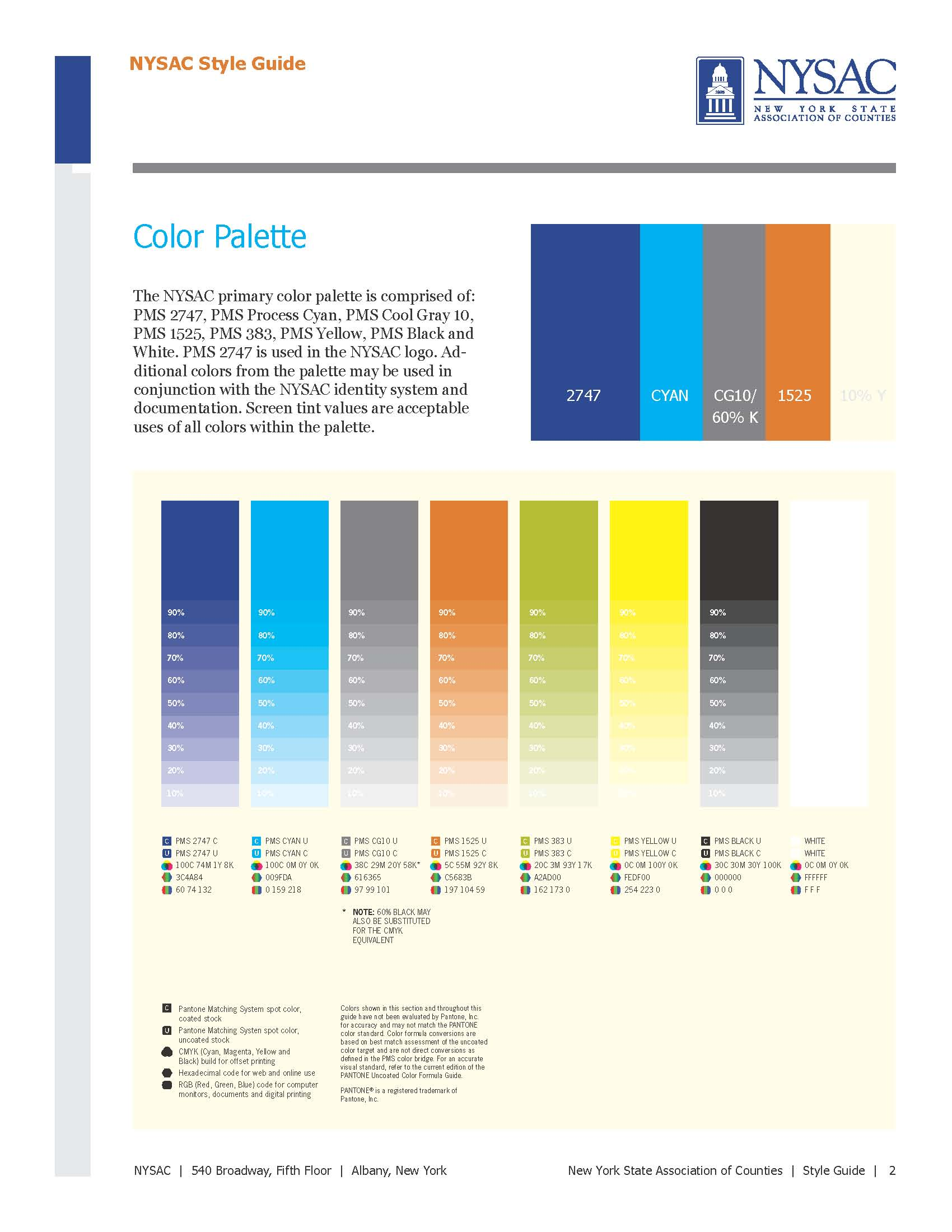 Creative company expands nysac and aoc brand optimize my for Visual style guide template