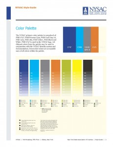 NYSAC style guide for colors: Every aspect of your brand should have the same style.