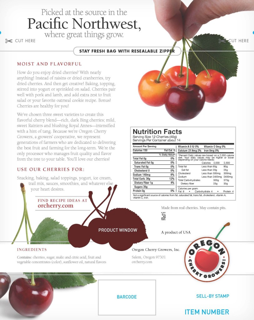 Oregon Cherry Growers package for sweet cherry blend