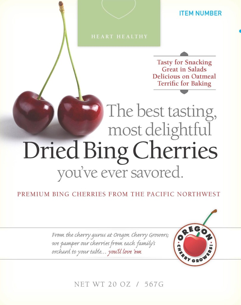 flavorful messages on Oregon Cherry Growers bing cherry package