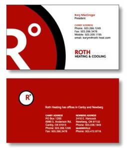 Roth Heating business cards